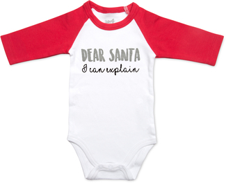 Dear Santa by Sidewalk Talk - 6-12 Months 3/4 Length Red Sleeve Onesie