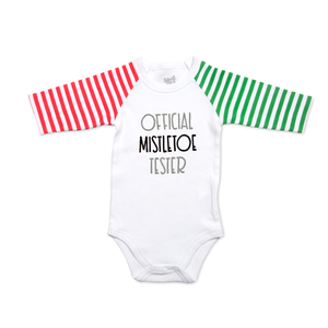 Mistletoe by Sidewalk Talk - 12-24 Months 3/4 Length Striped Sleeve Onesie