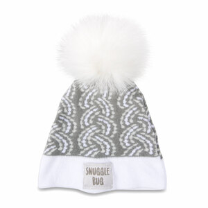 Snuggle Bug by Sidewalk Talk - Gray Knit Pom Pom Hat (0-12 Months)