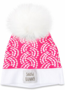 Snow Bunny by Sidewalk Talk - Pink Knit Pom Pom Hat (0-12 Months)