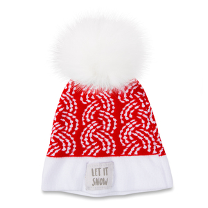 Let it Snow by Sidewalk Talk - Red Knit Pom Pom Hat (0-12 Months)
