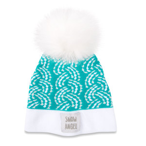 Snow Angel by Sidewalk Talk - Teal Knit Pom Pom Hat (0-12 Months)