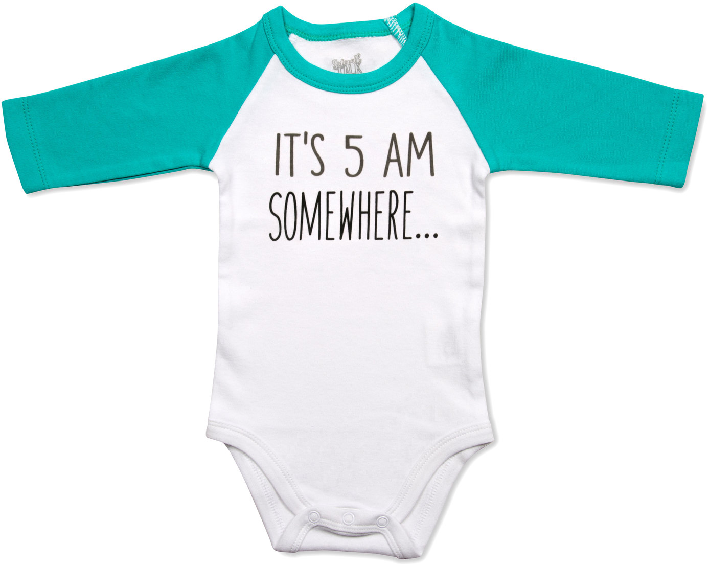5 AM by Sidewalk Talk - 5 AM - 6-12 Months 3/4 Length Teal Sleeve Onesie