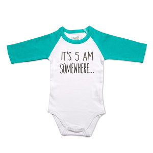 5 AM by Sidewalk Talk - 6-12 Months 3/4 Length Teal Sleeve Onesie