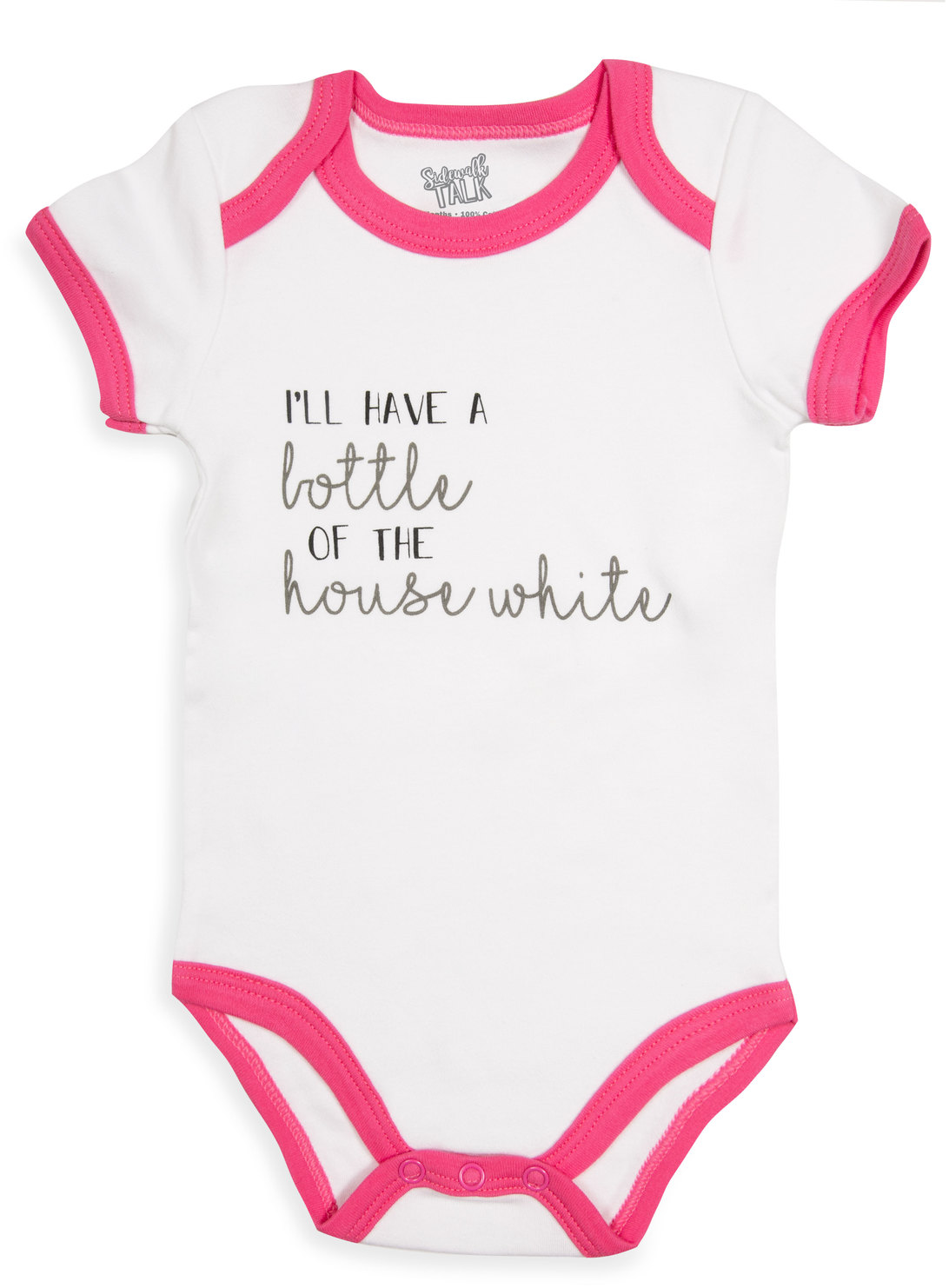 House White by Sidewalk Talk - House White - 6-12 Months Pink Trimmed Onesie