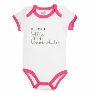House White by Sidewalk Talk - 6-12 Months Pink Trimmed Onesie