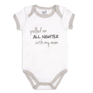 All Nighter by Sidewalk Talk - 6-12 Months Gray Trimmed Onesie