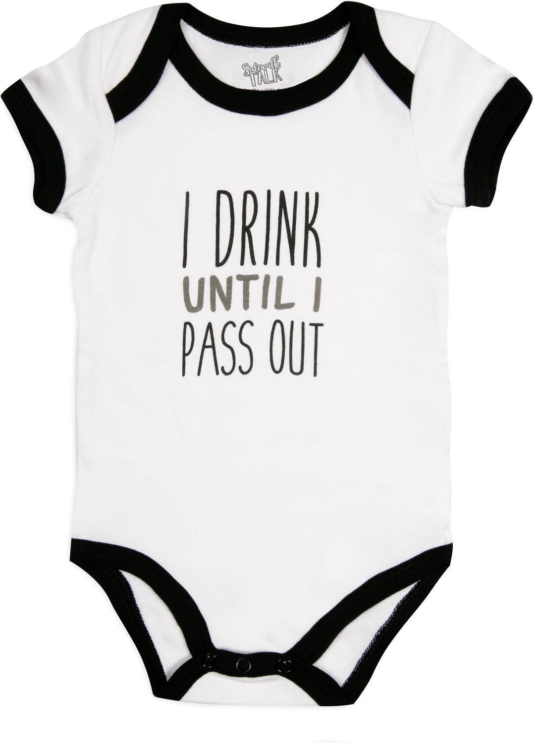 Pass Out by Sidewalk Talk - Pass Out - 6-12 Months Black Trimmed Onesie