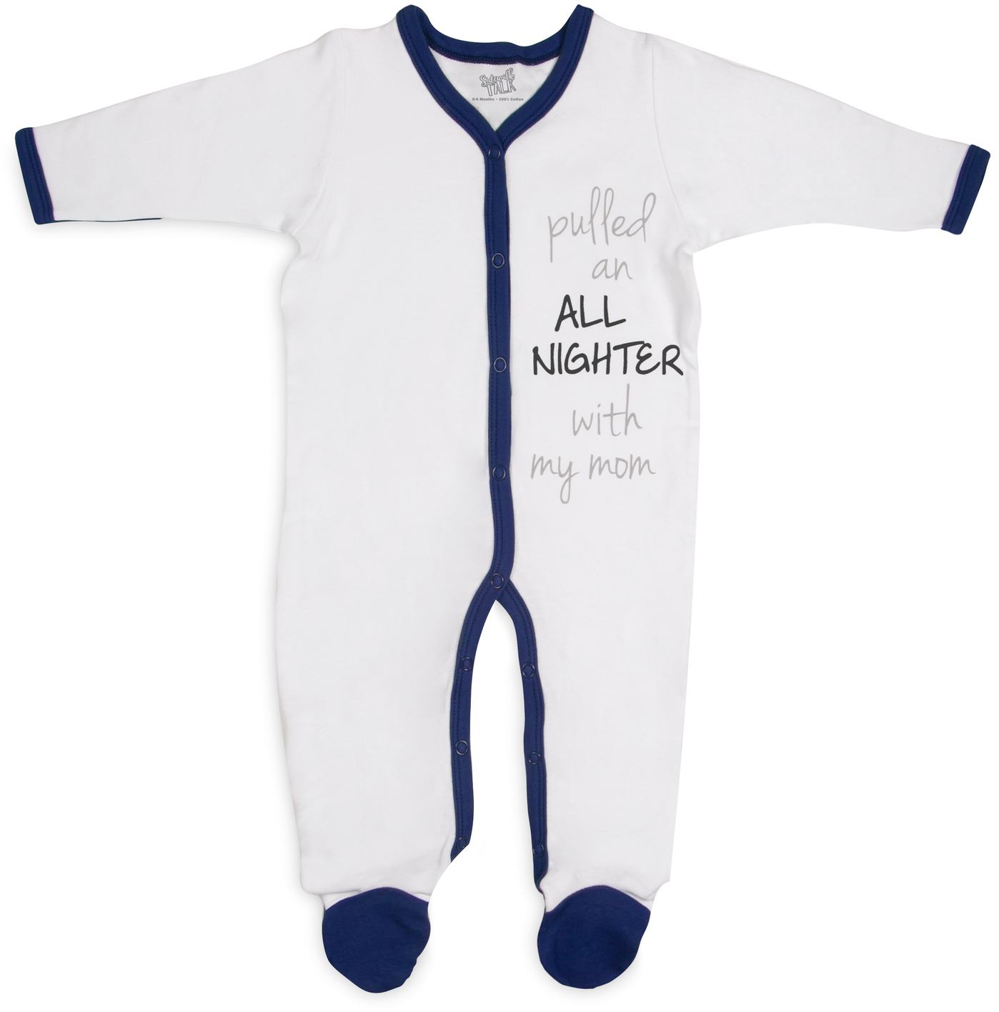 All Nighter by Sidewalk Talk - All Nighter - 0-6 Months Navy Trimmed Sleeper