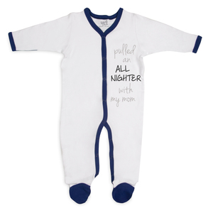 All Nighter by Sidewalk Talk - 0-6 Months Navy Trimmed Sleeper