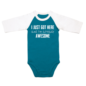 Already Awesome by Sidewalk Talk - 6-12 Months 3/4 Length Sleeve Prussian Blue  Onesie