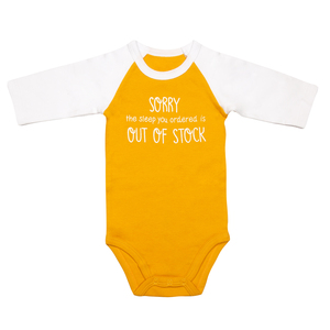 Out of Stock by Sidewalk Talk - 6-12 Months 3/4 Length Sleeve Mustard Onesie