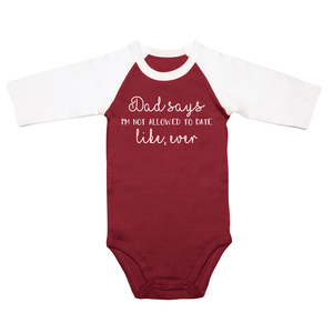 Not Allowed by Sidewalk Talk - 6-12 Months 3/4 Length Sleeve Maroon Onesie