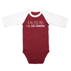 Ask Grandma by Sidewalk Talk - 6-12 Months 3/4 Length Sleeve Maroon Onesie