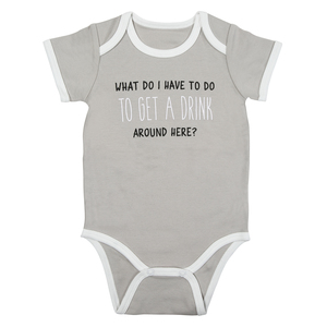 Get A Drink by Sidewalk Talk - 6-12 Months Gray Bodysuit