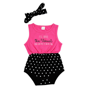 The Usual by Sidewalk Talk - 6-12 Months Pink & Black Romper with Headband