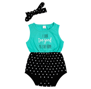 Look Too Good by Sidewalk Talk - 6-12 Months Teal & Black Romper with Headband
