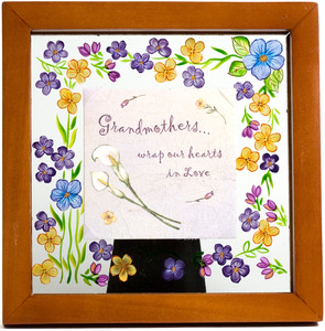 "Grandmother by Fields of Joy - 6.5"" Sq. Glass Frame/Pla"