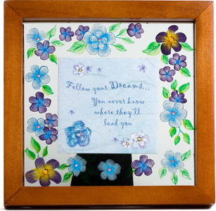 "Dream by Fields of Joy - 6.5"" Sq. Glass Frame/Pla"