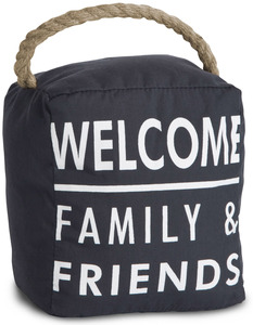"Welcome by Open Door Decor - 5"" x 6"" Dark Gray Door Stopper"