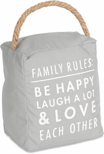"Family Rules by Open Door Decor - 5"" x 6"" Door Stopper"