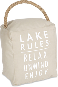 "Lake Rules by Open Door Decor - 5"" x 6"" Door Stopper"