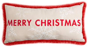 "Merry Christmas by Open Door Decor - 24"" x 12"" Decorative Pillow"