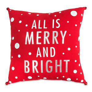 "Merry and Bright by Open Door Decor - 18"" x 18"" Decorative Pillow"