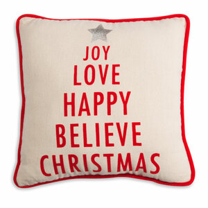 "Christmas by Open Door Decor - 12"" x 12"" Decorative Pillow"