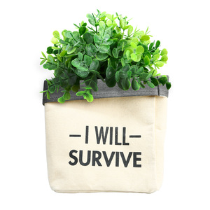 "Survive by Open Door Decor - Canvas Planter Cover (Holds a 6"" Pot)"