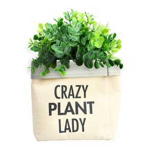 "Plant Lady by Open Door Decor - Canvas Planter Cover (Holds a 6"" Pot)"