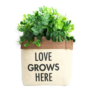 "Love Grows by Open Door Decor - Canvas Planter Cover (Holds a 6"" Pot)"