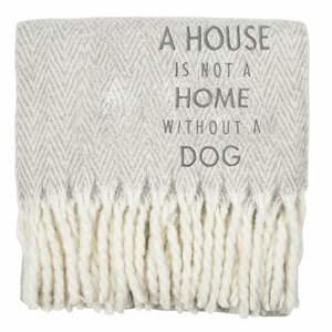 "Dog by Open Door Decor - 50"" x 60"" Herringbone  Blanket"