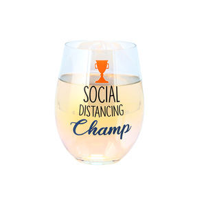 Social Distancing Champ by Essentially Yours - 18 oz Stemless Wine Glass
