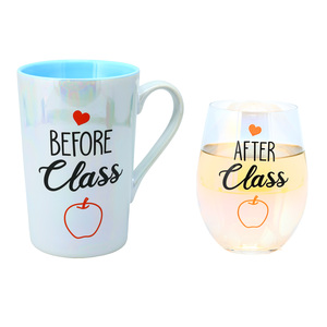 Before & After Class by Essentially Yours - 18 oz. Stemless Glass & 15 oz. Latte Cup Set