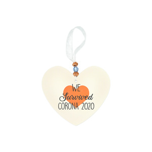 "We Survived by Essentially Yours - 3.5"" Heart-Shaped Ornament"