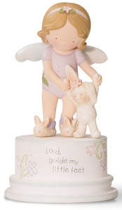"Little Feet by Cutie Patootie - 5"" Angel with Bunny"