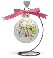 "Baby Girl's 1st Christmas by Cutie Patootie - 4"" Glass Ornament"