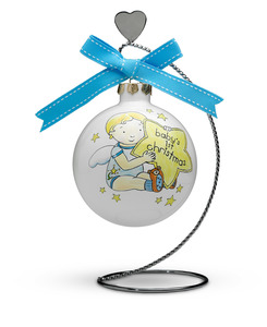 "Baby Boy's 1st Christmas by Cutie Patootie - 4"" Glass Ornament"