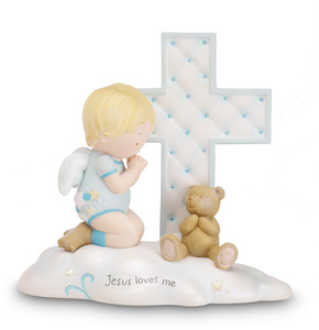 "Jesus Loves Me - Boy Angel by Cutie Patootie - 4.5"" Angel w/Cross"