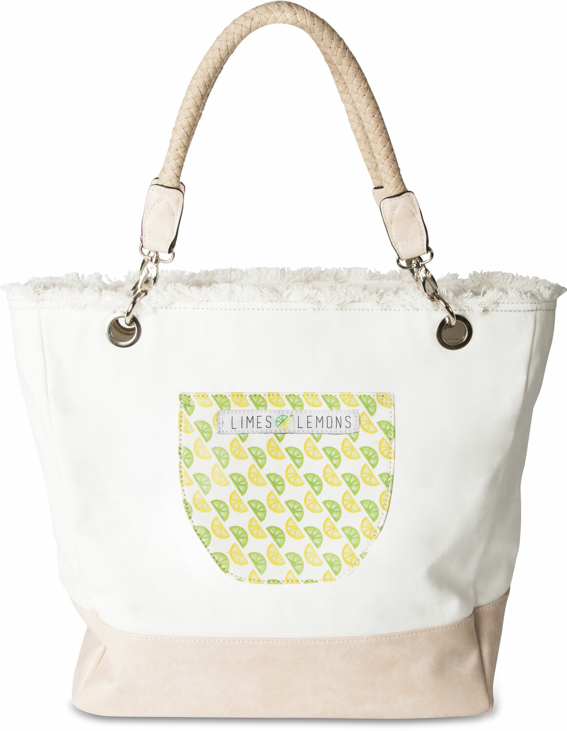 "A-Peel-ing- White by Livin' on the Wedge - A-Peel-ing- White - 18"" x 15"" x 6.75"" Large Canvas Tote Bag"