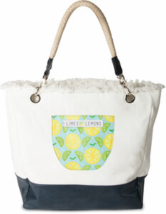 "Main Squeeze- Light Blue by Livin' on the Wedge - 18"" x 15"" x 6.75"" Large Canvas Tote Bag"