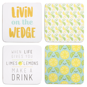 "Make a Drink by Livin' on the Wedge - 4"" (4 Piece) Coaster Set with Box"