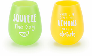 Squeeze Lemons by Livin' on the Wedge - 13 oz Silicone Wine Glasses (Set of 2)