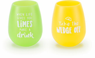 Lime Wedge by Livin' on the Wedge - 13 oz Silicone Wine Glasses (Set of 2)