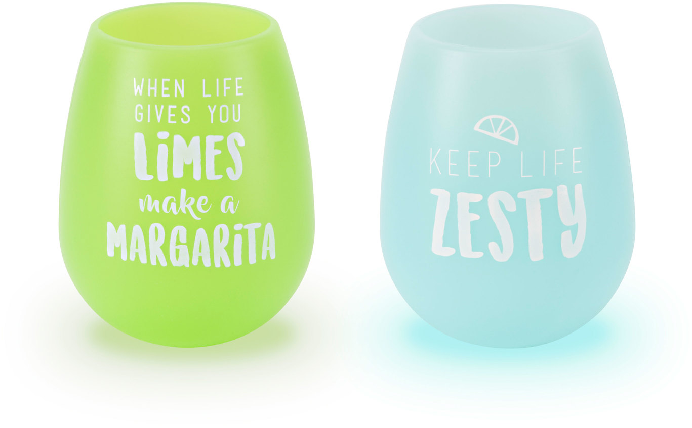 Zesty Margarita by Livin' on the Wedge - Zesty Margarita - 13 oz Silicone Wine Glasses (Set of 2)