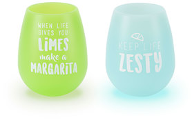 Zesty Margarita by Livin' on the Wedge - 13 oz Silicone Wine Glasses (Set of 2)
