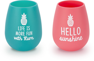 Rum & Sunshine by Livin' on the Wedge - 13 oz Silicone Wine Glasses (Set of 2)
