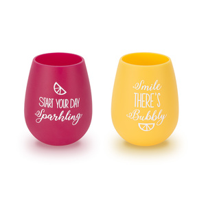 Sparkling & Bubbly by Livin' on the Wedge - 13 oz Silicone Wine Glasses (Set of 2)