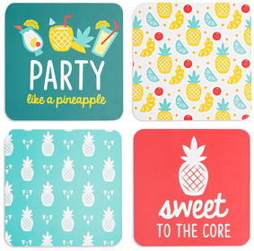 "Pineapple Punch by Livin' on the Wedge - 4"" (4 Piece) Coaster Set with Box"